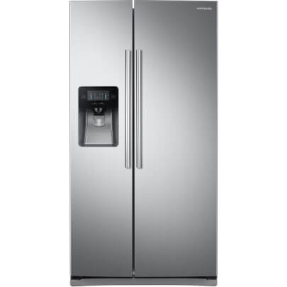 Front view of the 24.52 cubic foot stainless steel Samsung side-by-side refrigerator- RS25J500DSR