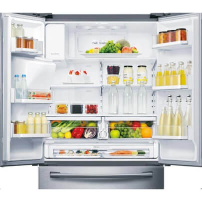 Front view of the 28 cubic foot stainless steel Samsung french door refrigerator with the door open and filled with food- RF28HFEDTSR