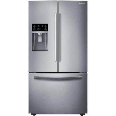 Front view of the 28 cubic foot stainless steel Samsung french door refrigerator- RF28HFEDTSR