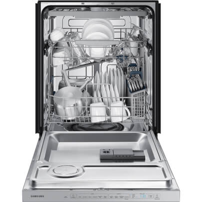 Front view with open door displaying a full load of dishes in the 48 decibel stainless steel Samsung dishwasher- DW80R5060US