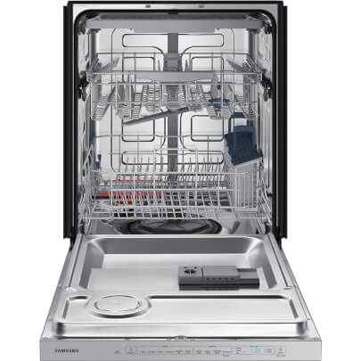 Front view with open door of the 48 decibel stainless steel Samsung dishwasher- DW80R5060US