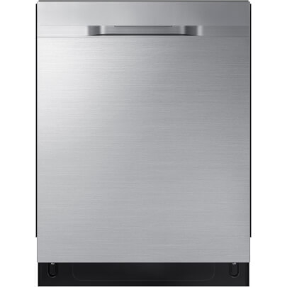 Front view of the 48 decibel stainless steel Samsung dishwasher- DW80R5060US
