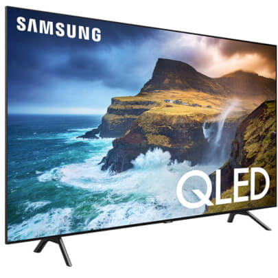 angled view of the samsung 4k qled smart tv model number qn65q70r