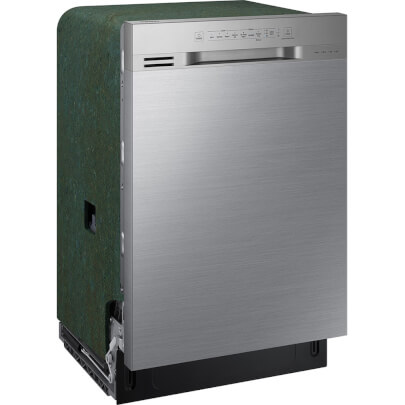 Angled side view of the 51 decibel stainless steel Samsung 3 rack dishwasher- DW80N3030US