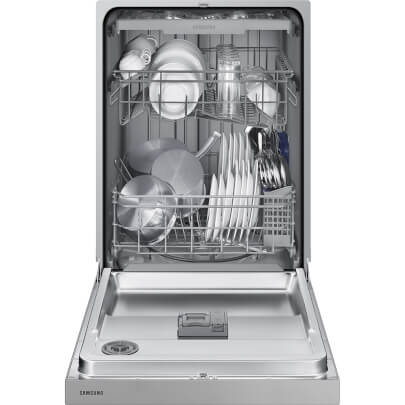 Front view with open door displaying a full load of dishes in the 51 decibel stainless steel Samsung 3 rack dishwasher- DW80N3030US