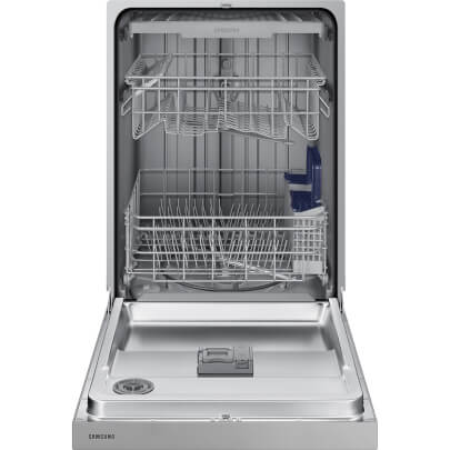 Front view with open door of the 51 decibel stainless steel Samsung 3 rack dishwasher- DW80N3030US
