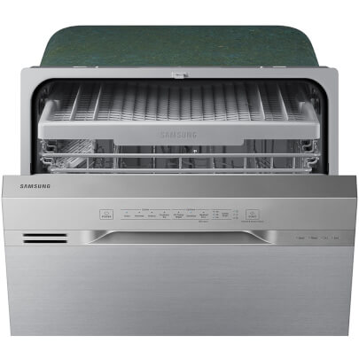 Front view with slightly open door of the 51 decibel stainless steel Samsung 3 rack dishwasher- DW80N3030US