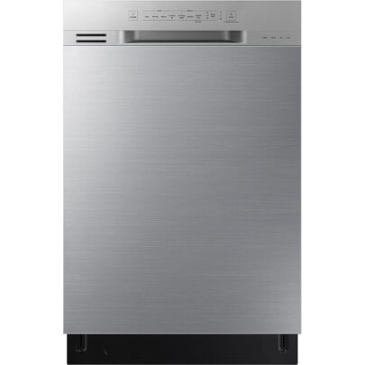 Front view of the 51 decibel stainless steel Samsung 3 rack dishwasher- DW80N3030US