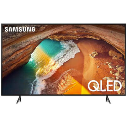 front view of the samsung 55 qled smart tv model number qn55q60r
