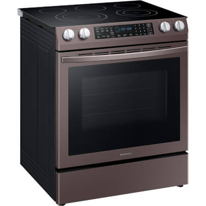 Angled front view of the 5.8 cubic foot Tuscan Samsung electric range- NE58R9431St