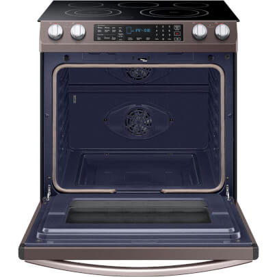 Front view with open oven door of the 5.8 cubic foot Tuscan Samsung electric range- NE58R9431St