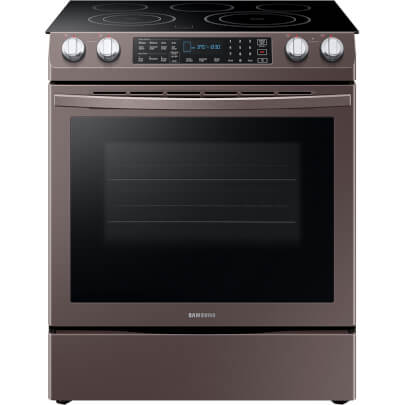 Front view of the 5.8 cubic foot Tuscan Samsung electric range- NE58R9431St