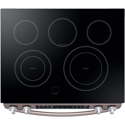 Overhead cook top view of the 5.8 cubic foot Tuscan Samsung electric range- NE58R9431St