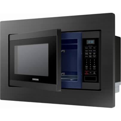 Angled front view of the 1.9 cubic foot black stainless Samsung counter top microwave with trim kit- MS19M8020TG