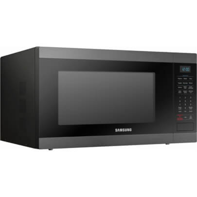 Angled front view of the 1.9 cubic foot black stainless Samsung counter top microwave- MS19M8020TG