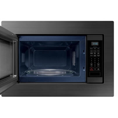 Front view with open door of the 1.9 cubic foot black stainless Samsung counter top microwave with trim kit- MS19M8020TG
