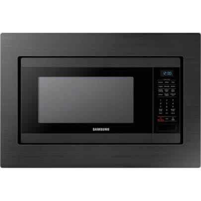 Front view of the 1.9 cubic foot black stainless Samsung counter top microwave with trim kit- MS19M8020TG