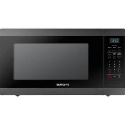 Front view of the 1.9 cubic foot black stainless Samsung counter top microwave- MS19M8020TG