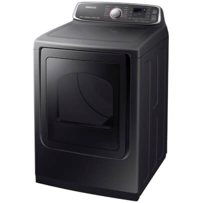Angled front view of the black stainless Samsung electric steam dryer- DVE52M7750V