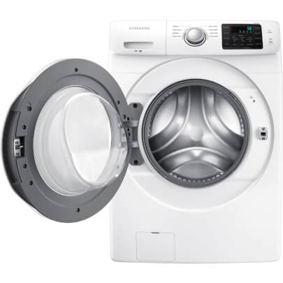 Front view with open door of the white Samsung front load washer with 4.2 cubic foot capacity- WF42H5000AW