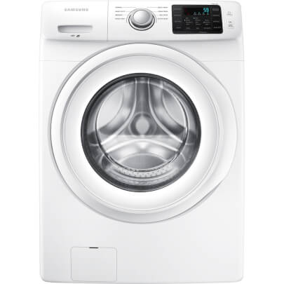 Front view of the white Samsung front load washer with 4.2 cubic foot capacity- WF42H5000AW