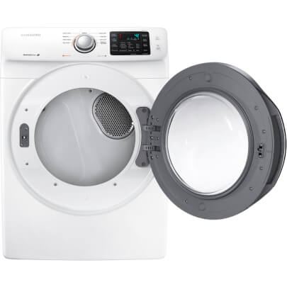 Front view of the white Samsung electric dryer with open dryer door- DV42H5000EW