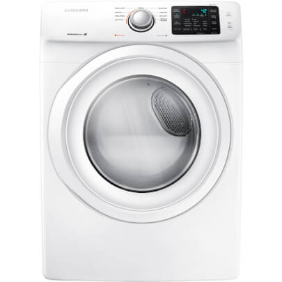 Front view of the white Samsung electric dryer with 7.5 cubic foot capacity- DV42H5000EW