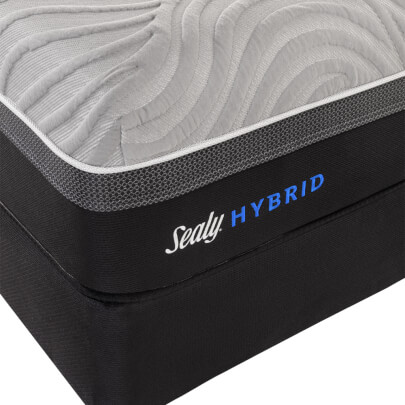 Close-up view of the Sealy Hybrid logo found on the Copper II cushion firm hybrid mattress- 52334751