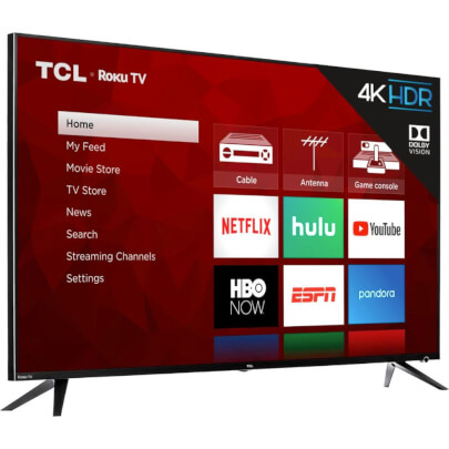 angled view 1 of the tcl 55 4k led smart tv model number 55r615b