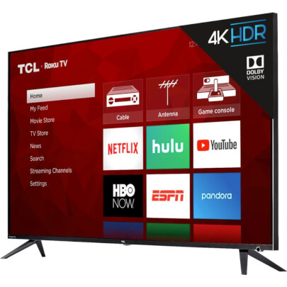 angled view 2 of the tcl 55 4k led smart tv model number 55r615b