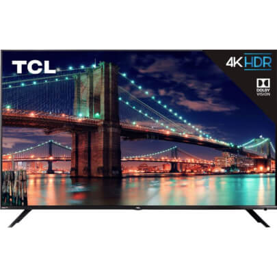 front view of the tcl 55 4k led smart tv model number 55r615b