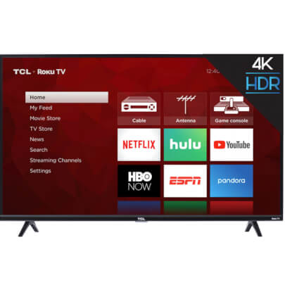front view of the tcl 65 4k led smart tv model number 65s425
