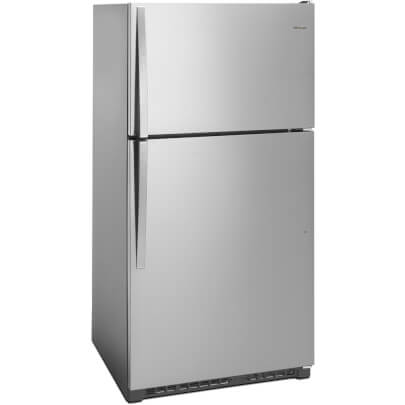 Angled front view of the 20 cubic foot stainless steel Whirlpool top freezer refrigerator- WRT311FZDM