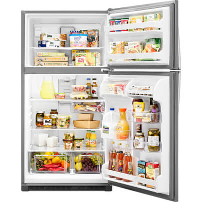 Front view with doors open and stocked with food of the 20 cubic foot stainless steel Whirlpool top freezer refrigerator- WRT311FZDM