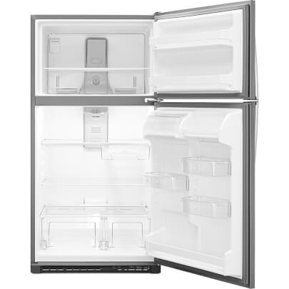 Front view with doors open of the 20 cubic foot stainless steel Whirlpool top freezer refrigerator- WRT311FZDM