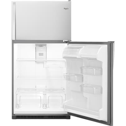 Front view with fridge door open of the 20 cubic foot stainless steel Whirlpool top freezer refrigerator- WRT311FZDM