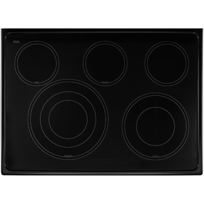Overhead cook top view of the 6.7 cubic foot stainless steel Whirlpool double oven range- WGE745C0FS
