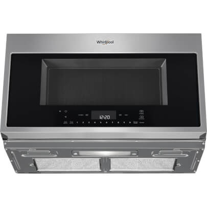 Lower front view of the 1.9 cubic foot stainless steel Whirlpool OTR microwave- WMH78019HZ