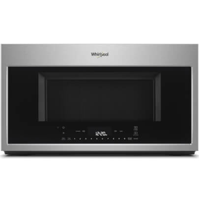 Front view of the 1.9 cubic foot stainless steel Whirlpool OTR microwave- WMH78019HZ