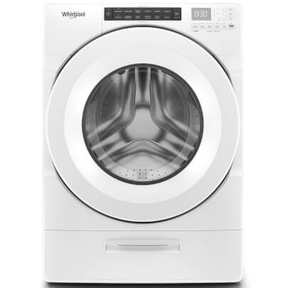 Front view of the white Whirlpool front load steam washer with 4.5 cubic foot capacity- WFW5620HW