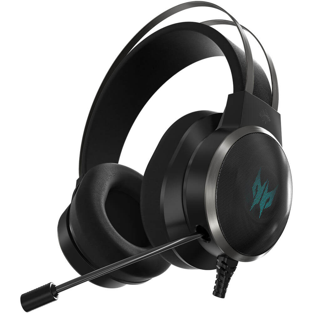 Angled side view of the black Acer Predator Galea 500 gaming headset featuring 40mm drivers and 7.1 virtual surround sound