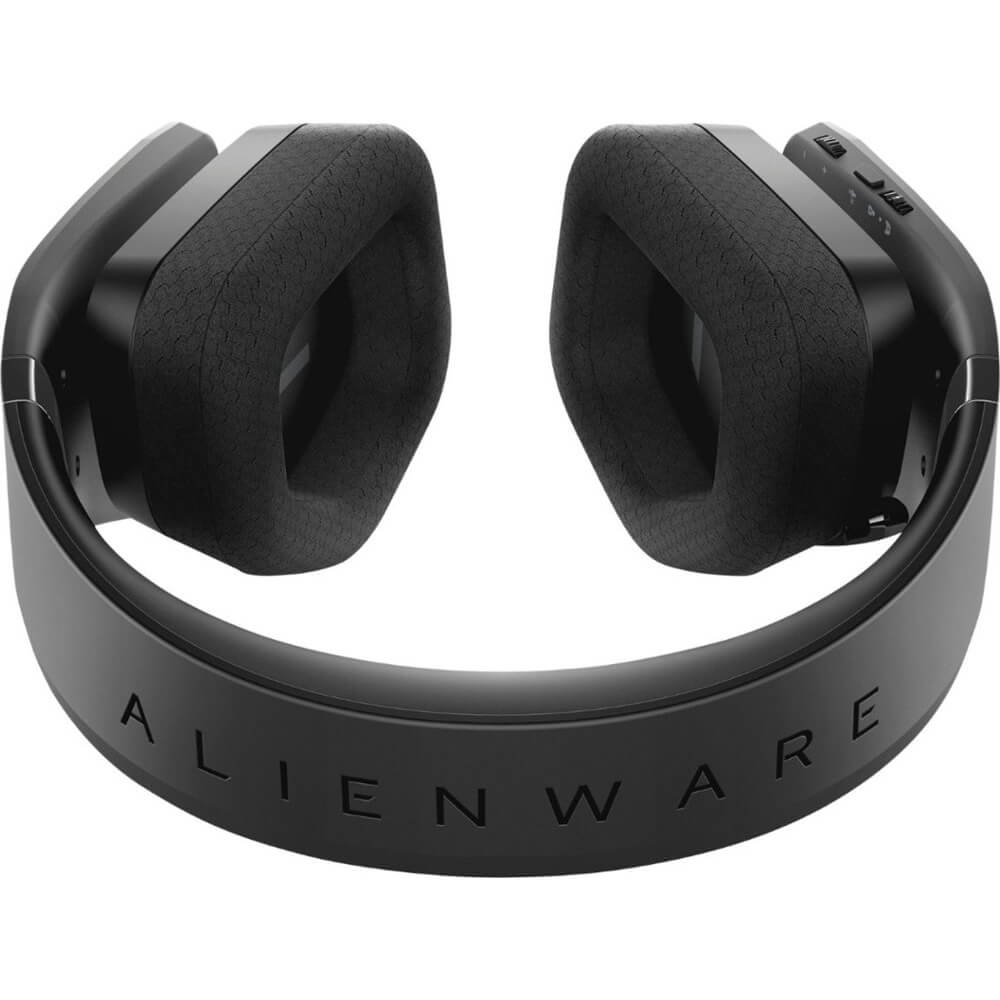 Top down view of the Alienware wireless gaming headset that features 7.1 virtual surround sound