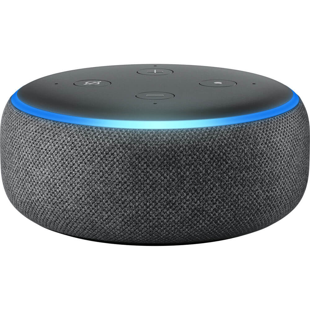 Front view of the charcoal black Amazon Echo Dot 3rd generation Alexa smart speaker- ECHODOT3BLK