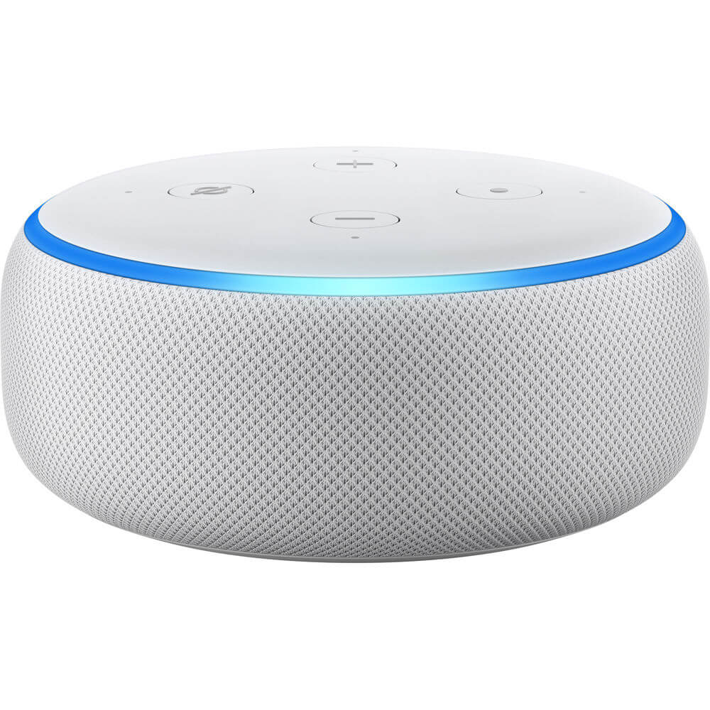 Front view of the sandstone white Amazon Echo Dot 3rd generation Alexa smart speaker- ECHODOT3WHT