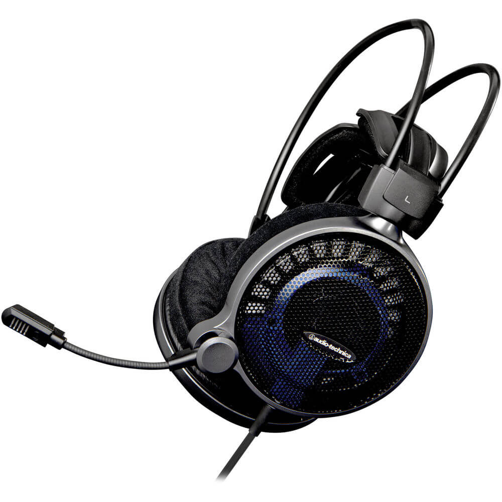 Angled side view of the high fidelity Audio Technica stereo gaming headset featuring 53mm drivers and an open-air design