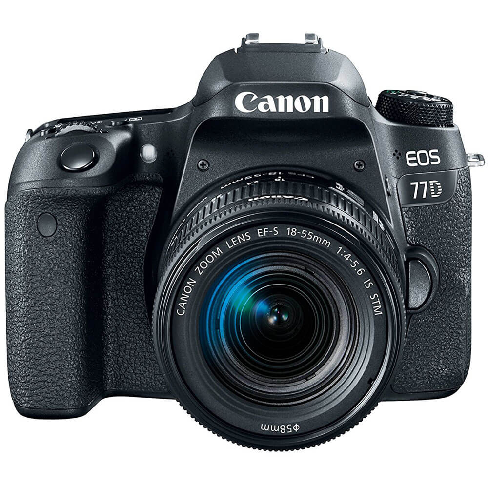 Front view of the Canon EOS 77D DSLR camera with a 18-55 millimeter lends- EOS77D