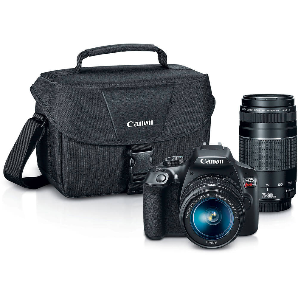 Bundle view of the Canon EOS Rebel T6 DSLR camera with 2 lenses- T6BUNDLE
