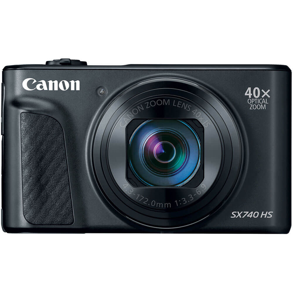 Front view of the Canon PowerShot 20.3 mega-pixel digital camera- SX740BK