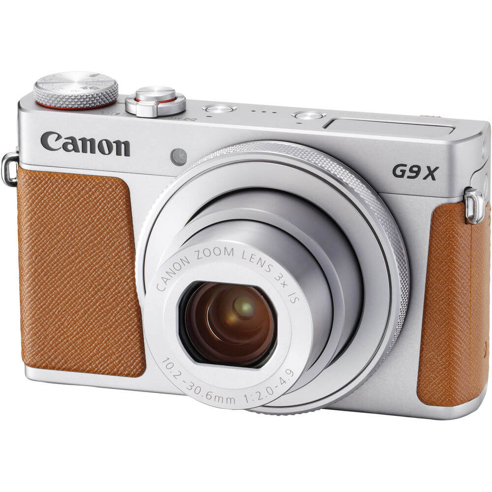 Angled front view of the Canon PowerShot G9 X 20.1 mega-pixel camera- G9XII