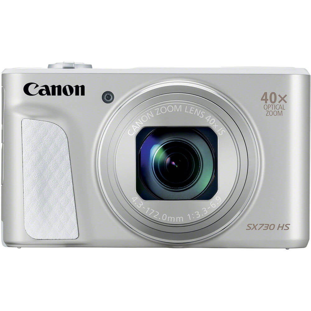 Front view of the silver Canon PowerShot 20.3 mega-pixel digital camera- SX730SL